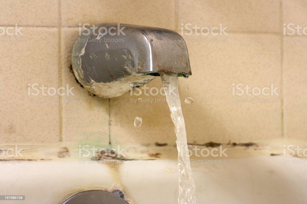 Water Flowing in Bathtub stock photo