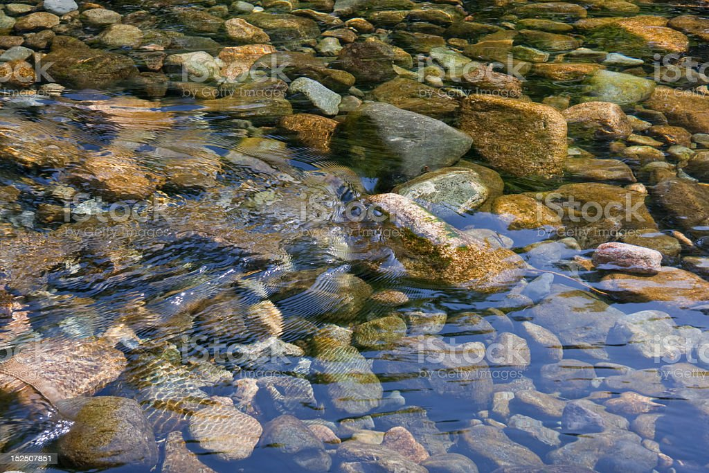 water flowing over pebbles stock photo