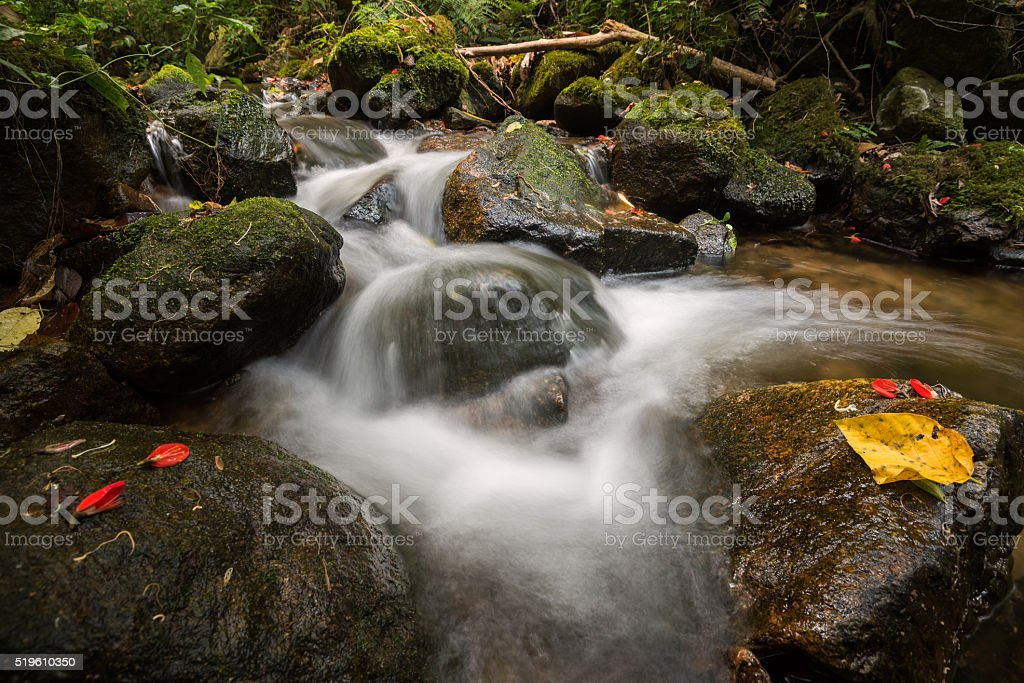 water flowing over rocks at a little falls stock photo