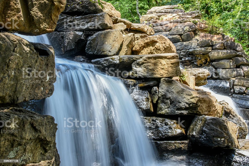 Water flowing over rocks stock photo