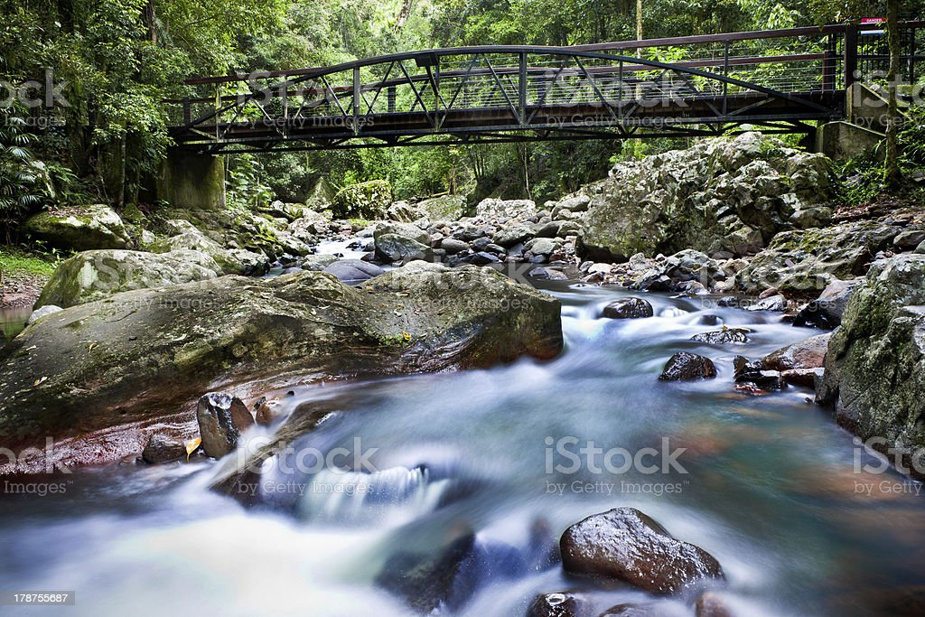 Water flowing under a bridge stock photo