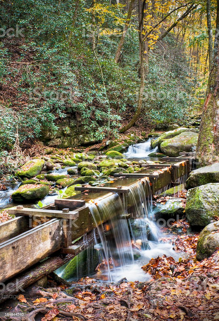 Water Flume, Roaring Fork, Great Smoky Mountains, Gatlinburg, Tennessee, USA royalty-free stock photo