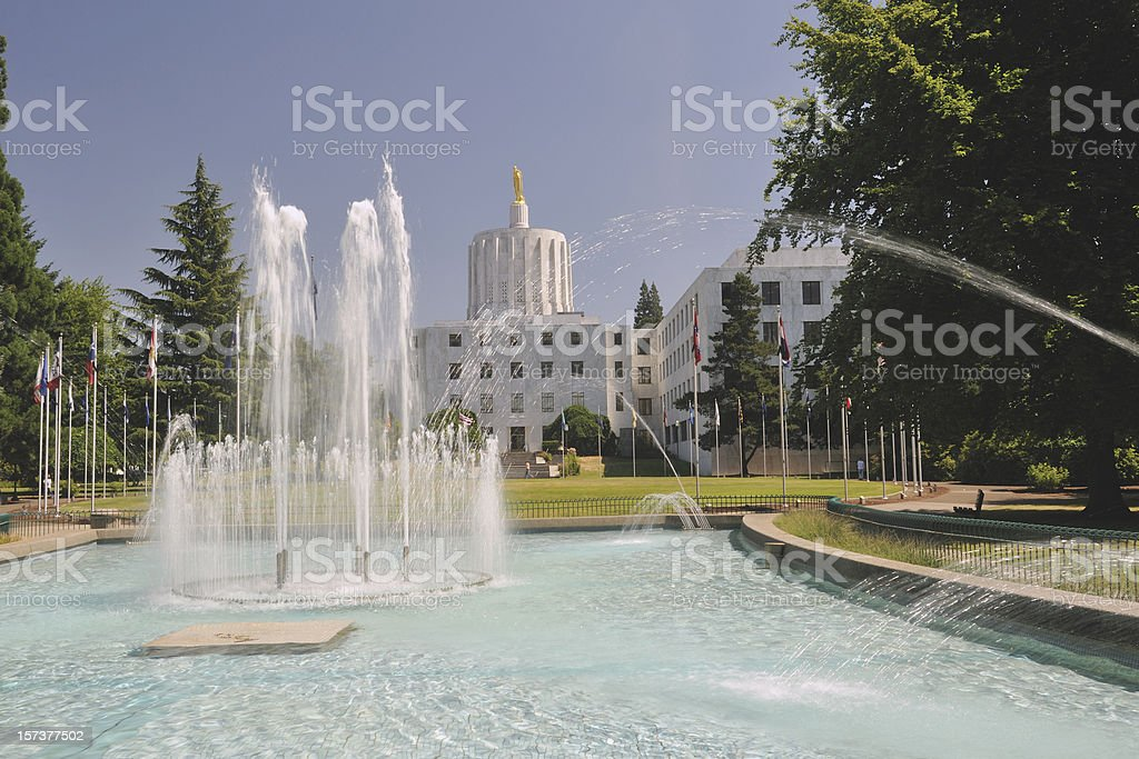 Water Fountain and State Building stock photo