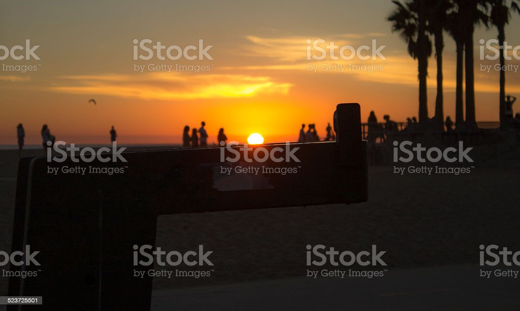 Water Fountain and Sunset stock photo
