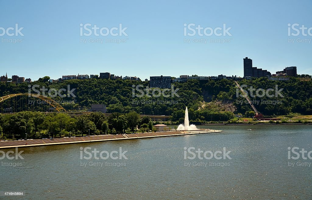 Water Fountain at Point State Park, Pittsburgh, Pennsylvania stock photo