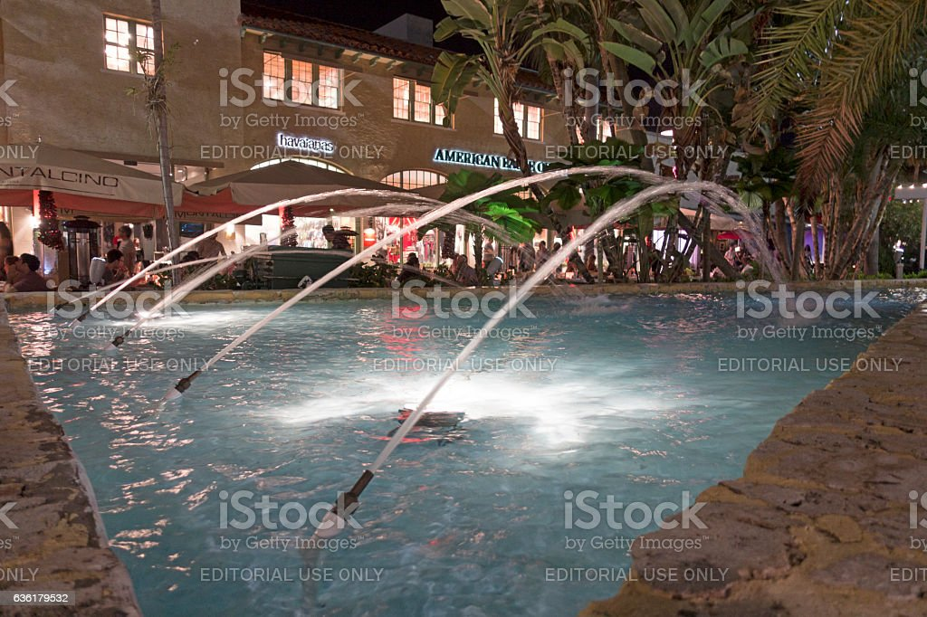 Water Fountain in Lincoln Road Mall stock photo
