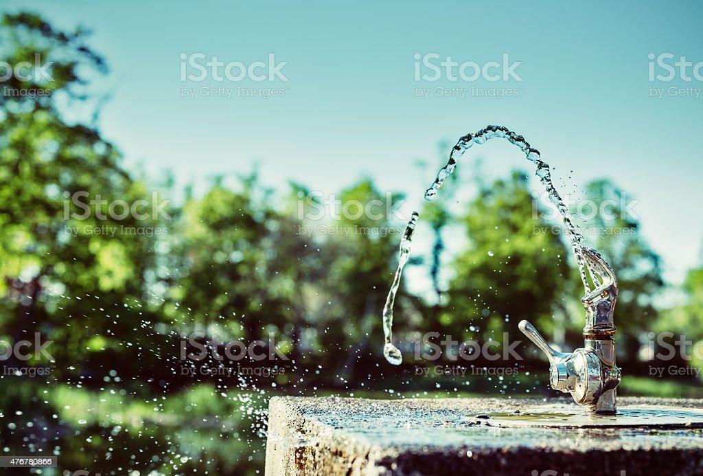 Water Fountain in Sunlight stock photo
