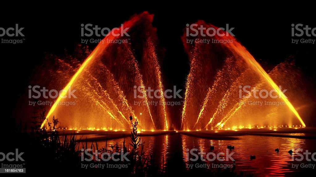 Water Fountain Light Show royalty-free stock photo