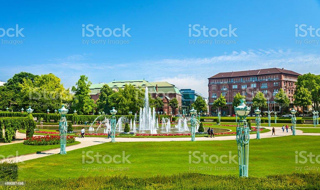 Wasserspiele fountain on Friedrichsplatz square in Mannheim - Ge stock photo