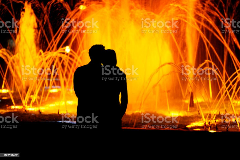 Water Fountain Romance royalty-free stock photo