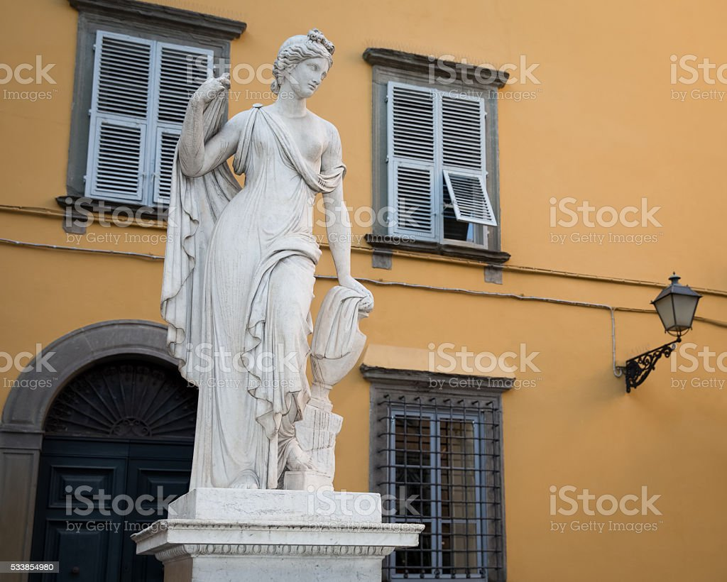 Water Fountain Statue in Lucca, Tuscany, Italy stock photo