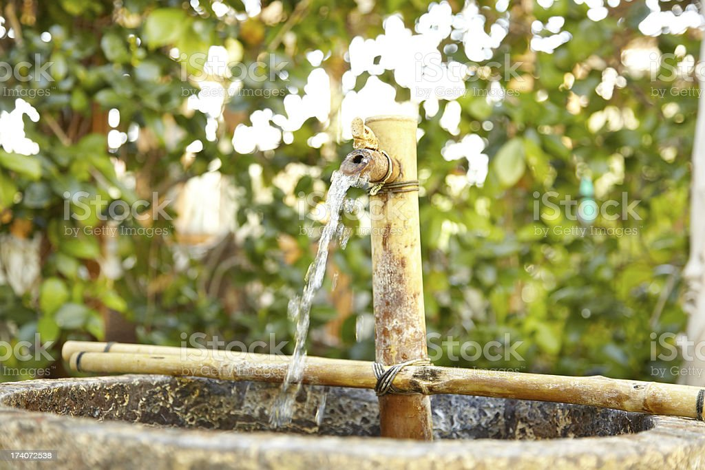 Water fountain with plants on an outdoor patio royalty-free stock photo
