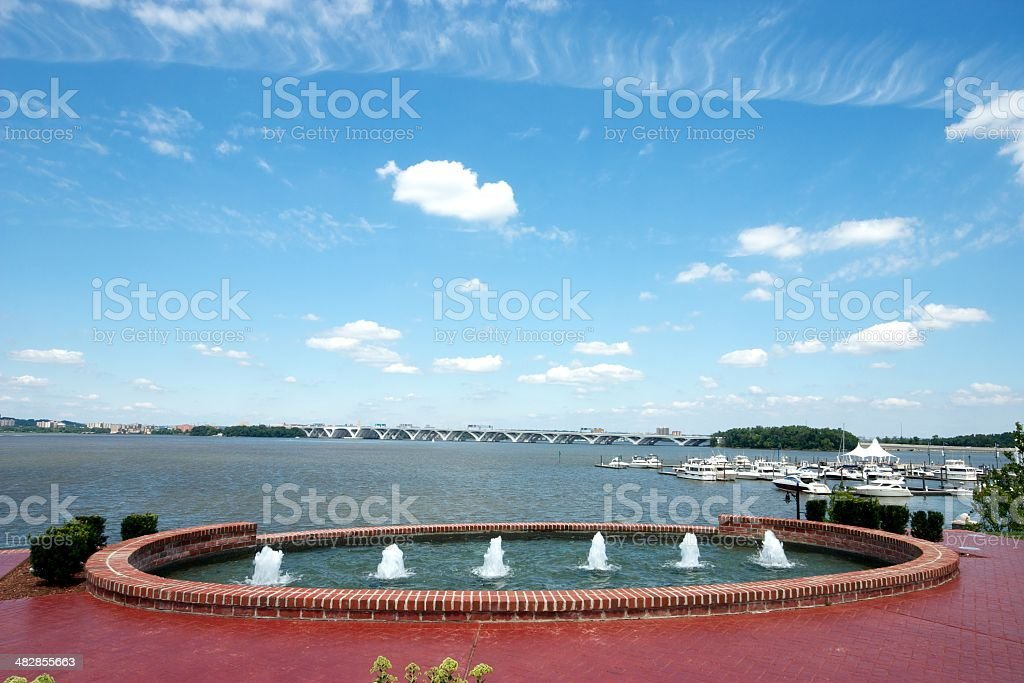Water Fountains in front of Marina stock photo