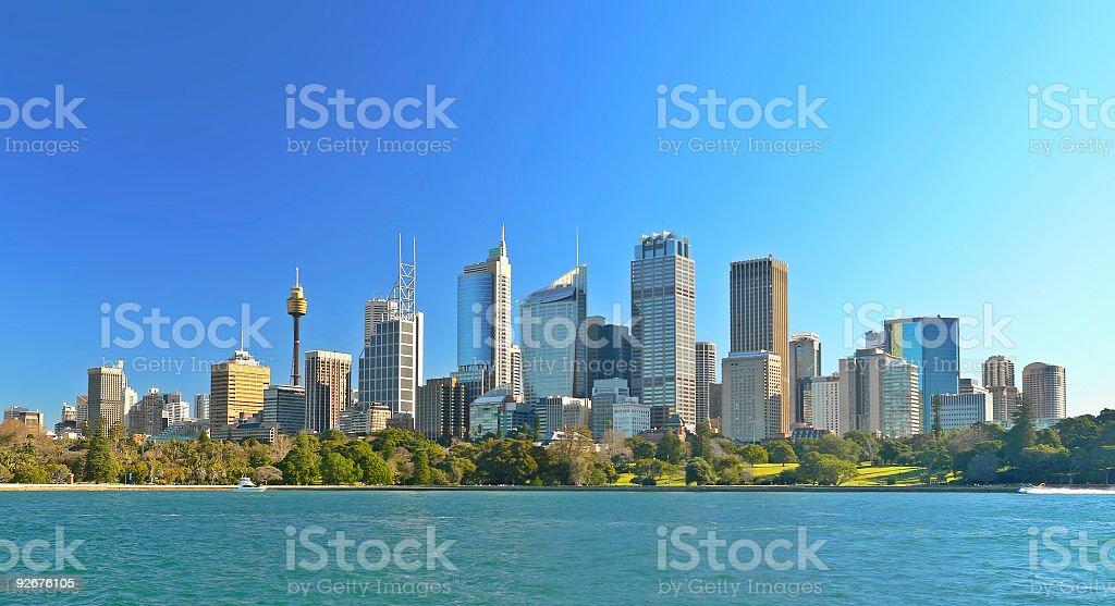Water Front Panorama of Sydney Office Buildings with harbor view stock photo