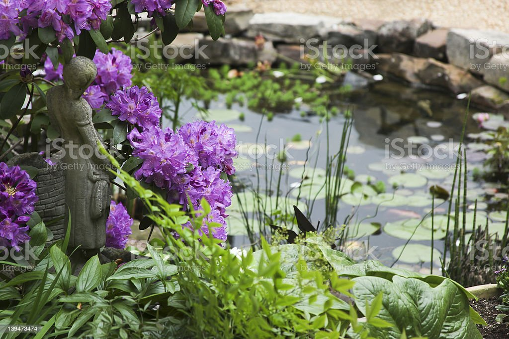 Water Garden and Statue royalty-free stock photo