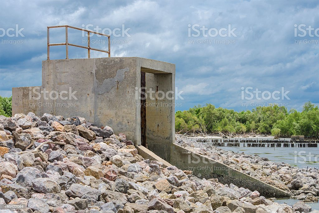Water gate for irrigation in the countryside of Thailand royalty-free stock photo