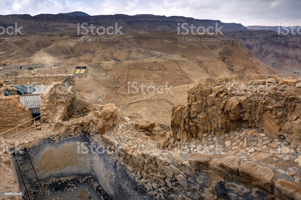 Water Gate (with Roman Siege Camp in the background) @ Masada, Israel stock photo