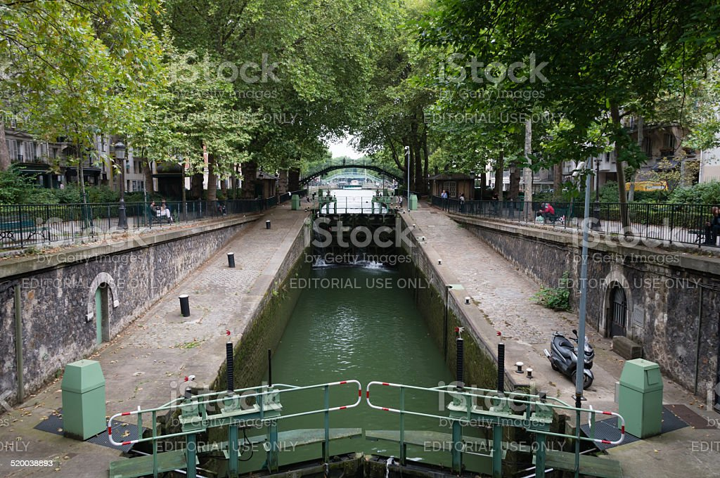 Water gates of the Saint-Martin canal stock photo