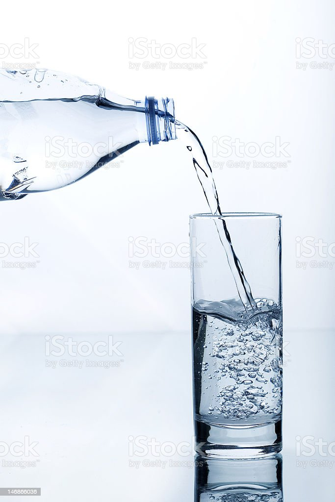 water glass bottle stock photo