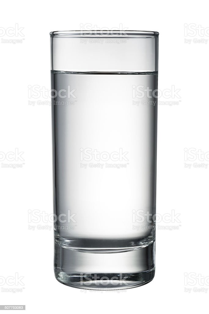 Water glass isolated on white. With clipping path stock photo