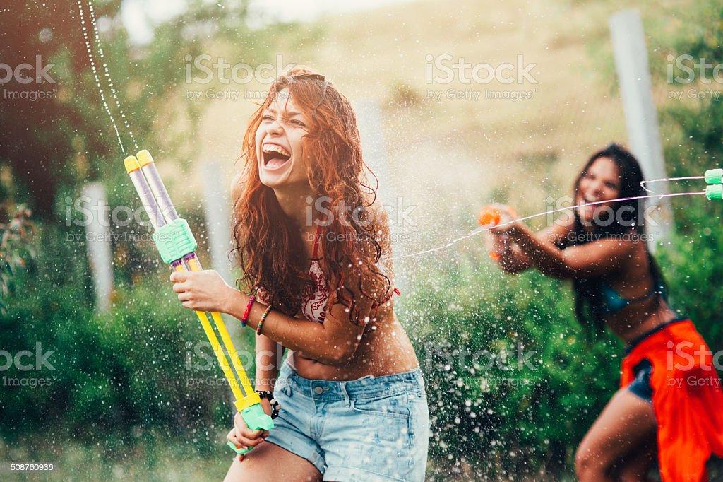 Water Gun Fight stock photo