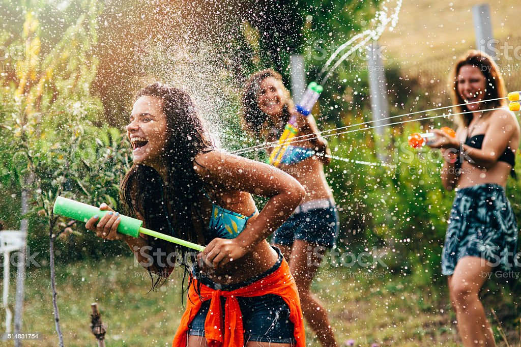 Water Gun Fight stock photo