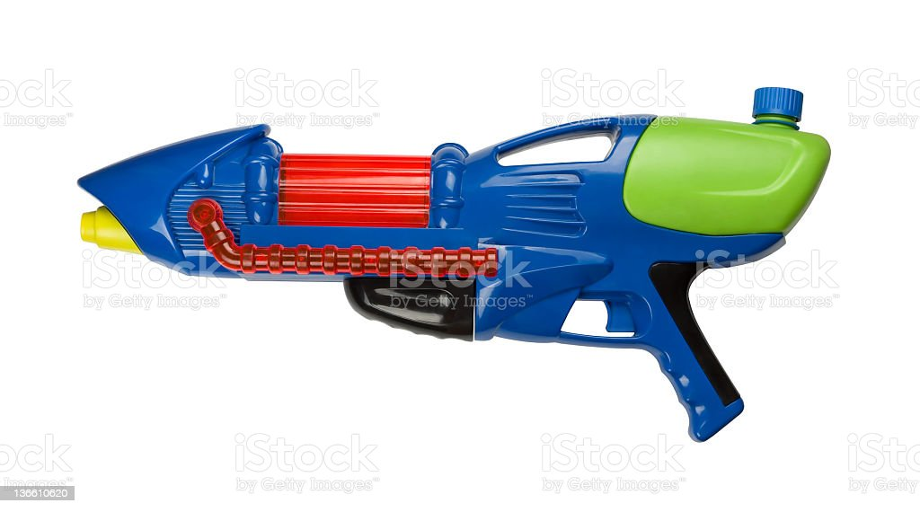 Water gun isolated on white background stock photo