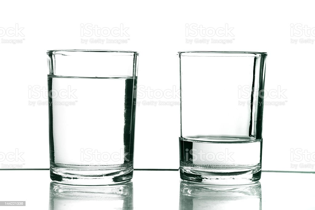 Water has been poured in two glasses stock photo