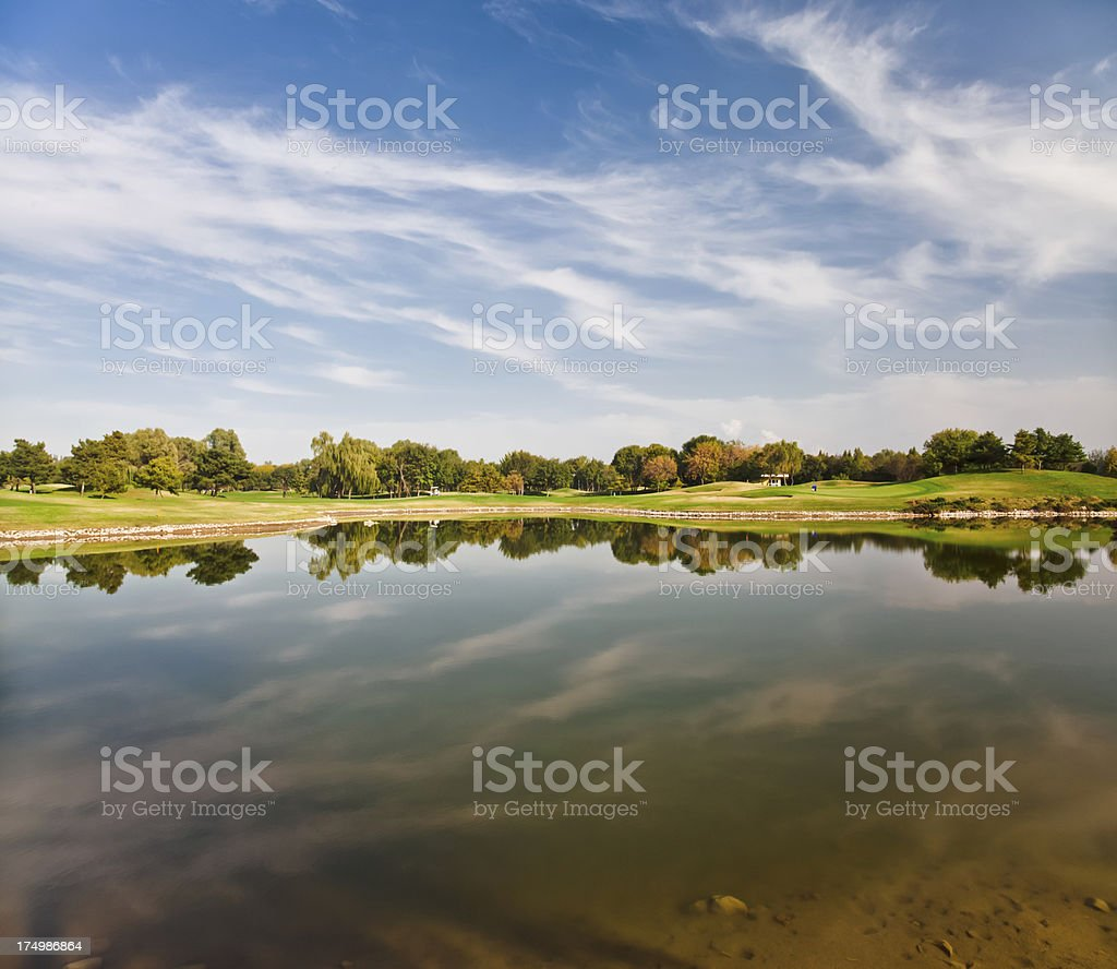 Water Hazard of the golf course stock photo