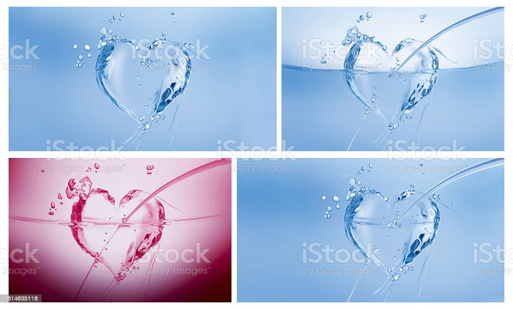 Water Hearts Collage stock photo