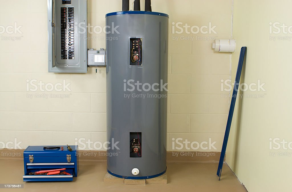 Water heater inside a building stock photo