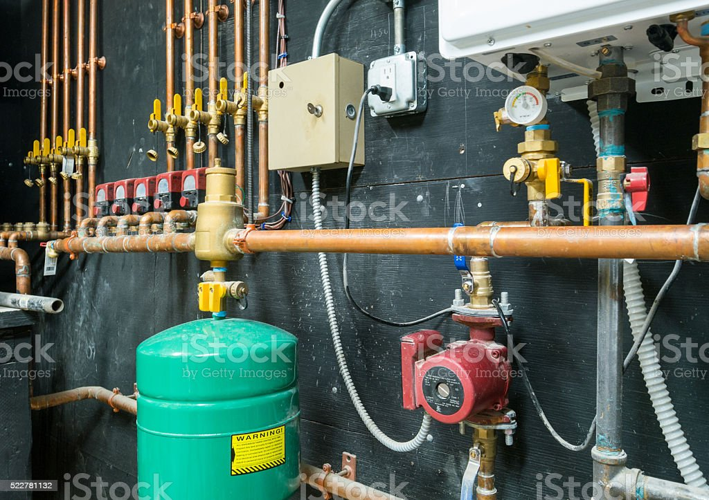 Water heating installation stock photo