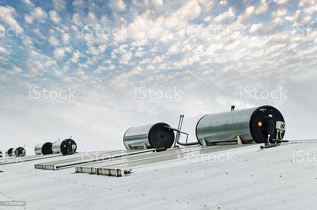 Water heating solar panels stock photo