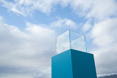 Water in a blue receptacle box outdoors