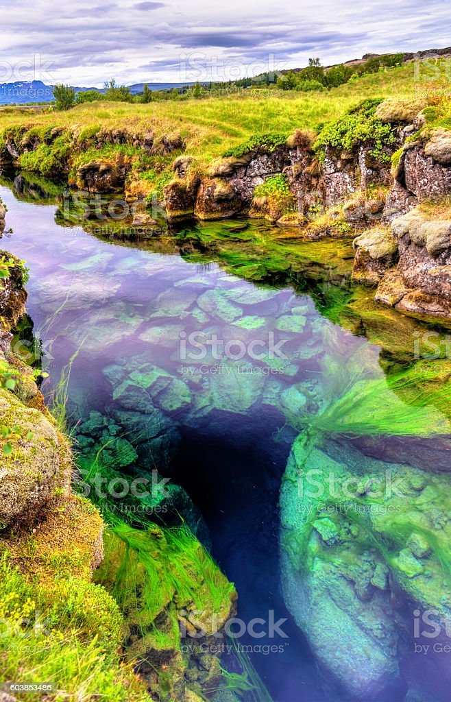 Water in a fissure between tectonic plates in the Thingvellir stock photo