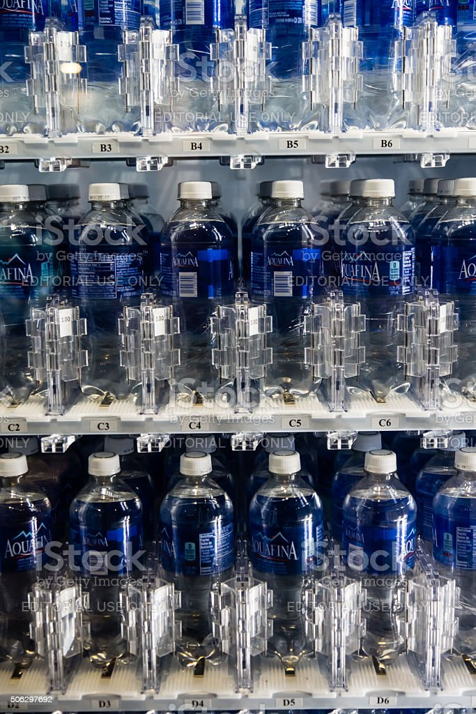 Water in a Vending Machine at CES stock photo