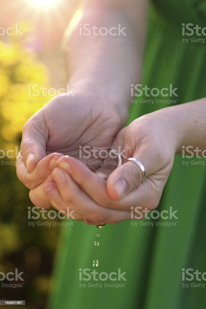 Water in hands royalty-free stock photo