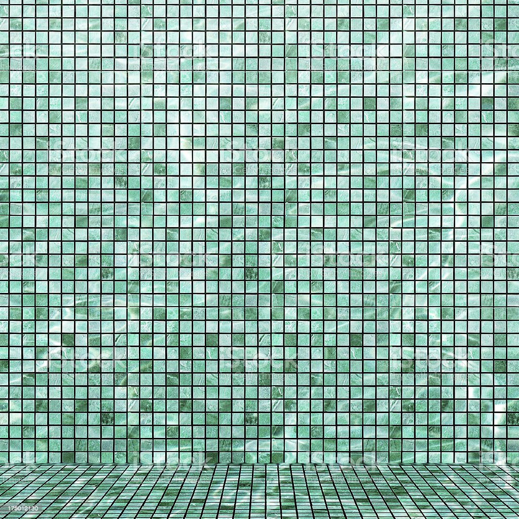 Water in swimming pool mosaic bottom stock photo