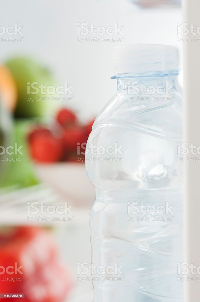 Water in the fridge stock photo