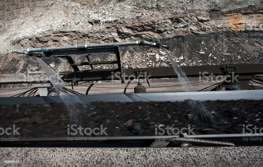 Water injection to minimize dust coal Industry stock photo