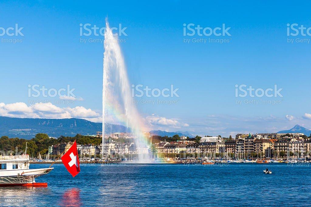 Water jet fountain with rainbow in Geneva stock photo
