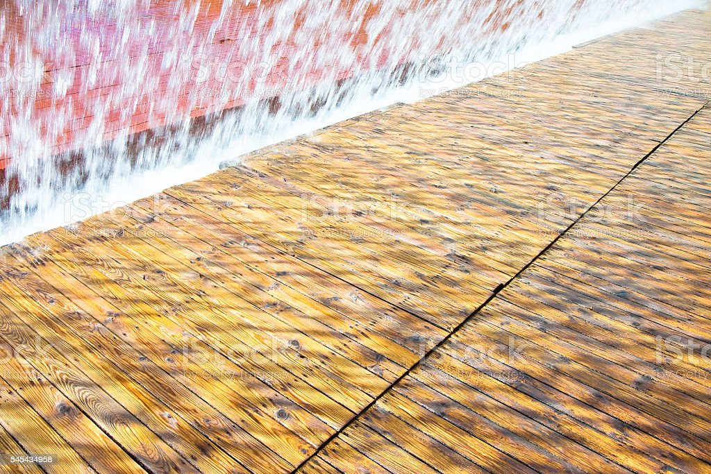 Water jets of a modern fountain stock photo