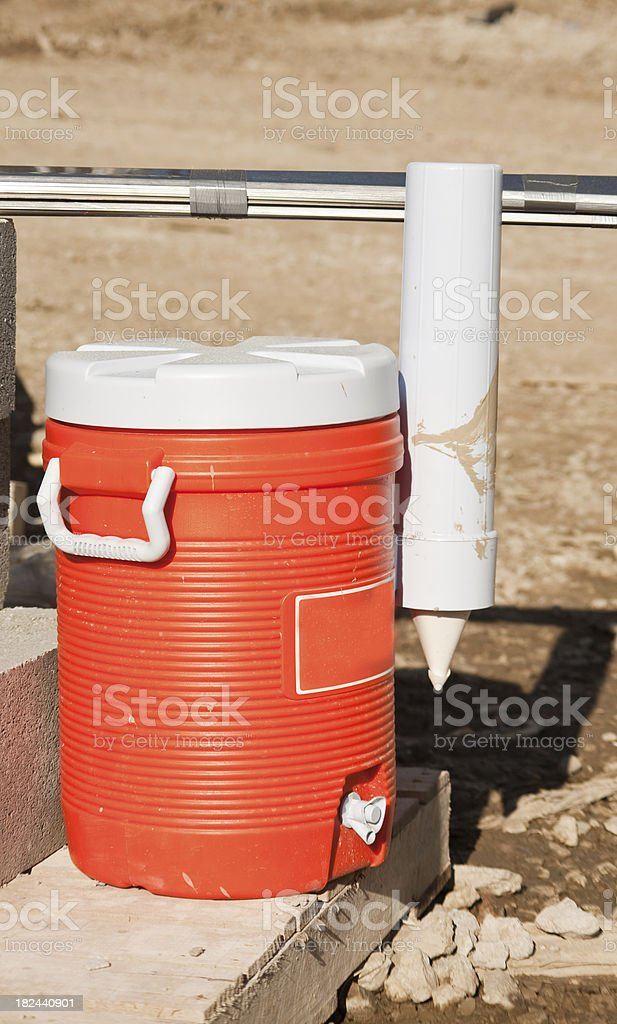 water jug, orange plastic stock photo