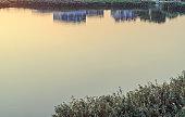 Water lake texture at sunrise, sunset close up