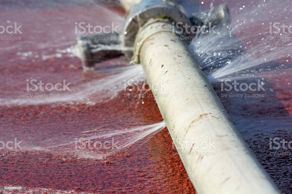 water leaking from hole in a hose stock photo