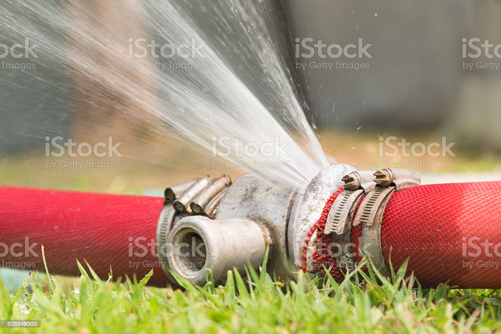 water leaking from pipeline joints stock photo