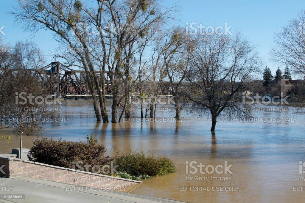 Water level at the I Street Bridge stock photo