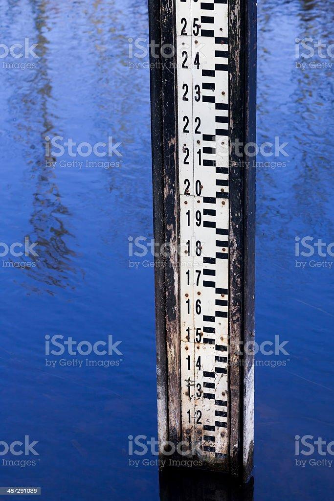 Water level measurement gauge. stock photo