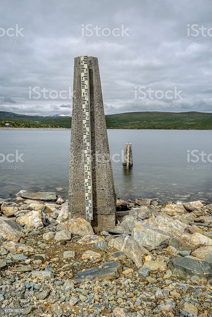 Water level measurement gauge used to monitor the water levels. stock photo