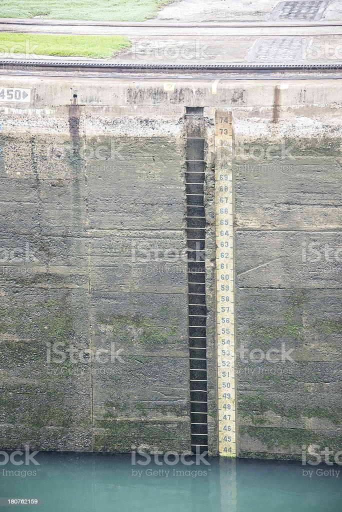 Water Level Measurement Inside the Locks of Panama Canal royalty-free stock photo